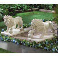 Pair of Lion Garden Decor Statues Yard Patio Outdoor Lawn Ornament Sculpture Art