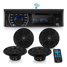 Pyle PLMRKT48BK 6.5 Inch Bluetooth Marine Receiver Stereo and Speaker Kit, Black