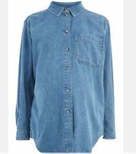Ex TopShop Maternità Oversize Camicia Tasca Blu UK 10 USA 6 Eu 38 (ts14-12)