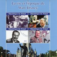 Chad Disney Stamps 2021 CTO Life & Times Walt Disney Mickey Mouse 4v M/S II