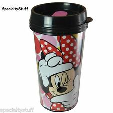NEW DISNEY 16oz MINNIE MOUSE ADULT TRAVEL TUMBLER PS DOUBLE WALLED ZAK! (RH)
