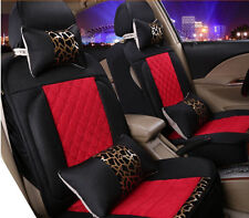 Car Seat Cover Red & Black Fabrics For All 5 seats Car Vehicles 8pcs Front+Rear