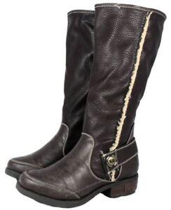 Manfield FLB650 Brown Zip Knee High Boots Warm Biker Fleece