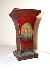 antique handmade 18th century French claw footed hand painted toleware vase pot