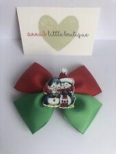 """Girls Penguin Christmas hair Bow 4"""" Red & Green Handmade Stocking Filler"""