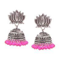 Oxidized Silver Plated Lotus Design Jhumka Jhumki Pink & Silver Earrings women
