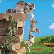 Set of 3 Delightful Hanging Raccoon Family Outdoor Garden Statues