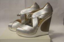 YSL Yves saint Laurent Maggy 110 wedge silver gold silk sandal 38 1/2 NIB $1695