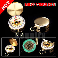 OZ Gold Portable Classic Brass Pocket Compass Outdoor Camping Hiking Luminous