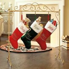 Metal Scroll Stand Christmas Stocking Holder Hanger in Black or Gold Color