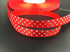 "10Yards 3/8"" 10mm Polka Dot Ribbon Satin Craft Supplies crafts red color"
