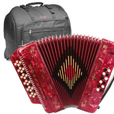 ROSSETTI ACCORDION 34 BUTTON 3 SWITCH GCF 12 BASS SOL RED + STAGG PADDED BAG