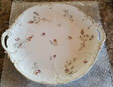 Antique Rosenthal Sanssouci Germany White Floral Embossed Porcelain Cake Plate