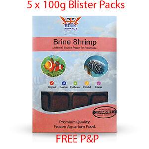 BCUK Frozen Fish Food- 5 x 100g Blister Packs-Brine shrimp (Artemia) --FREE P&P