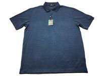 Bugatchi Uomo New Mens Blue Striped Short Sleeve Polo Shirt Size Large