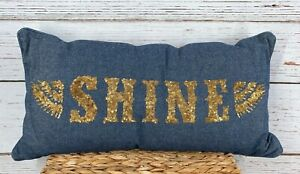 Pottery Barn Teen X Junk Gypsy Shine Pillow Cover ONLY Denim Blue Gold Sequins