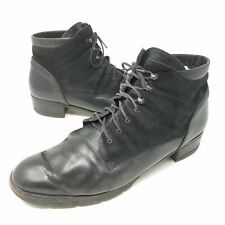 Vtg Paul Green Womens 8.5 Ankle Granny Boots Black Suede Leather Lace Up Grunge