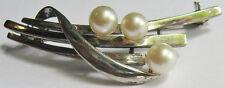*Mikimoto Vintage Elegant Sterling Silver Three Pearl Pin Brooch*