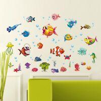Kartoon Wandtattoo Wandaufkleber Meerestiere Unterwasserwelt Fische Wandsticker