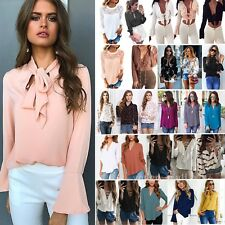 Womens Chiffon Lace Long Sleeve Top Blouse Ladies OL Office Casual T Shirts Tops