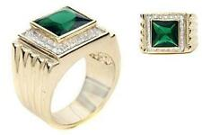 18K GOLD EP 9.0CT CZ EMERALD MENS DRESS RING sz 10 or T 1/2
