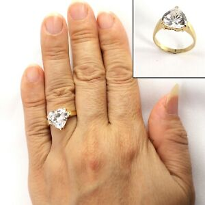 Heart Shaped Cubic Zirconia 14k Yellow Gold Ring TPJ