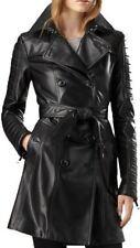 Damen Vintage Mac Damen Oberbekleidung Lang Leder Trenchcoat