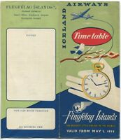 ICELAND AIRWAYS TIMETABLE MAY 1954