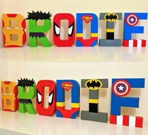 Childrens personalised letters name. Avengers Marvel superhero boys batman gift