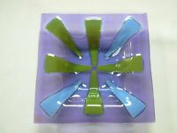 "SIGNED HIGGINS MID CENTURY FUSED ART GLASS PURPLE GREEN BLUE 7"" SQUARE BOWL DISH"