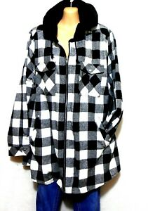 City Chic black & white check hoodie jacket, sz. L, NWOT