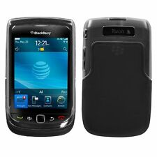 Mybat Plastic and TPU Skin Protector Case Clear and Black For BlackBerry Torch