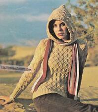TEXTURED JUMPER WITH HOOD / D.K. & 12ply - COPY ladies knitting pattern