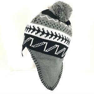 Polar Wear Kids Beanie Hat Ear Flaps Fleece Lined Striped Knit Pom Gray Black OS
