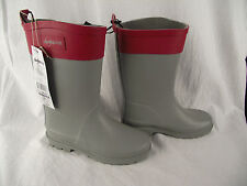 BNWT Ladies Sz 10 Quality Rivers Doghouse Brand Smart Grey and Red Long Gumboots