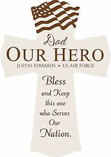 "Personalized Laser Engraved White Wall Cross, 11"" - Our Hero, Military Prayer"