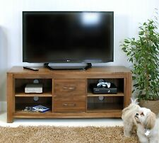 Linea solid walnut home furniture widescreen television cabinet stand unit