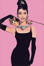 AUDREY HEPBURN POSTER Breakfast at Tiffanys movie cat cigarette pink art print