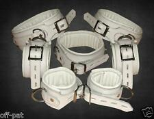7 PIECE GENUINE LEATHER WHITE HEAVY DUTY PADDED BONDAGE RESTRAINT SET Restraints