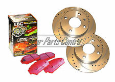 FOR HONDA CIVIC TYPE R EP3 FRONT DRILLED GROOVED BRAKE DISCS EBC RED STUFF PADS