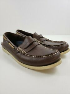 MENS SPERRY TOPSIDER LEATHER  A/O PENNY BROWN SIZE 9 M 0271775