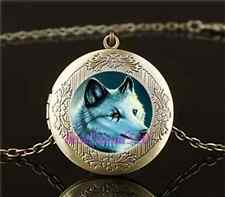 Vintage Solitary Wolf  Photo Glass Brass Chain Locket Pendant Necklace