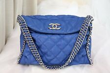 VERIFIED Authentic Chanel Gorgeous Blue Quilted Leather Chain Around Hobo Bag