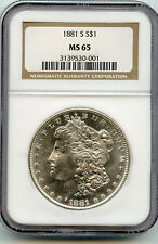 1881-S MS-65 NGC Certified Morgan Silver Dollar, Blast White, Nice!