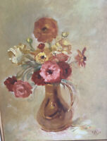 Vintage Original Framed FLoral OIl Painting On Canvas Signed By Effie 1974