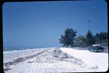 1953  kodachrome Photo slide Sanibel Beach Florida car