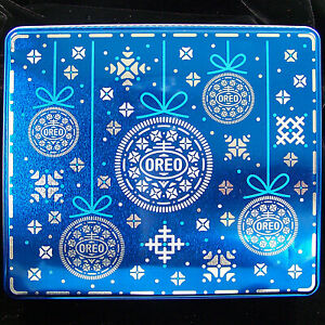 Oreo Cookie Holiday Colectors Tin Box Empty Can Container Includes Paper Label