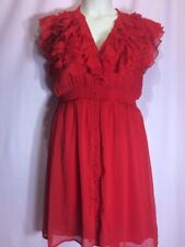"""H&M 12(M?) 38""""Bust Red Ruffle Holiday Lined Button Casual Women's Dress BB20"""
