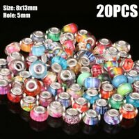 20Pcs Lampwork Random Mixed Big Hole(5mm) Loose Glass Beads For DIY Jewelry
