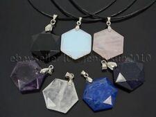 Natural Gemstone Reiki Chakra Flat Hexagonal Healing Pendant Charm Beads Silver